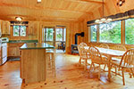 Trails End Cabin kitchen, dining room, porch